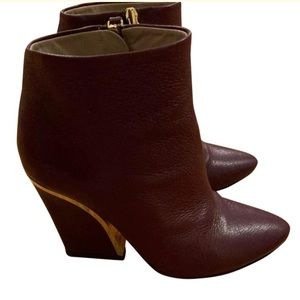 Chloe Oxblood Burgundy Leather Fall Ankle Boots